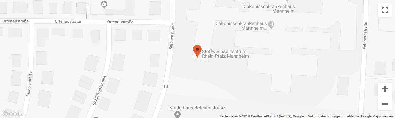 OHRpheus Hörgeräte Mannheim Belchenstraße Diakonissen Krankenhaus Stadtplanbild