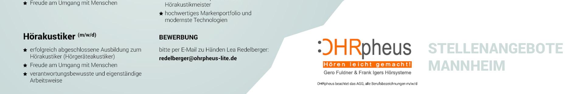 OHRpheus Hörgeräte Stellenangebote Filiale Mannheim Q 6 Q 7 Sliderbild