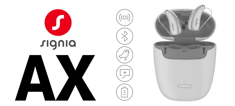 Signia AX Hörgeräte im Ladeetui Produktbild